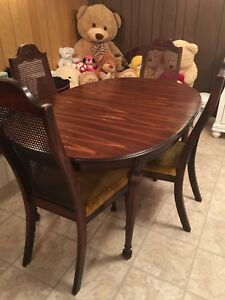 Antique Vintage Solid Wood Dining Table Set