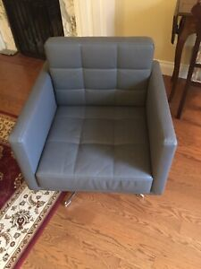 Swivel chair - Grey - Leather
