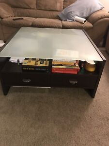 PRICE REDUCED! Solid wood w glass top coffee table and tv stand