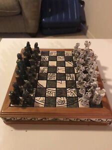 One of a kind Chess Set (pieces & board) - Aztec vs Spanish