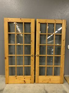 Solid pine French  doors with beveled glass + solid pine door