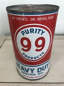 FULL Antique Purity  Heavy Duty Imperial Quart Motor Oil Tin Can