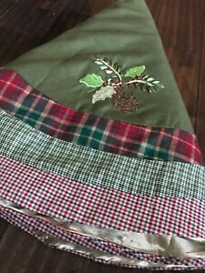 Rustic Country Christmas Tree Skirt - Patchwork Plaid Design