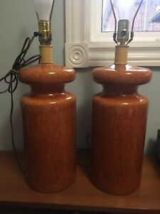 Pair of Mid century modern ceramic table lamps (NO shades)