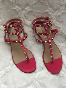 Authentic Valentino Rockstudded leather pink sandals