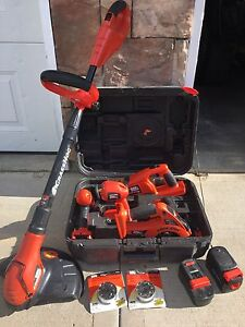 18V Black and Decker Firestorm power tool set and trimmer