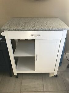 Small marble top island on wheels