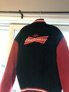 Red and black Budweiser suede jacket