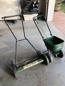 Lee Valley Push Mower Plus Scott's Spreader