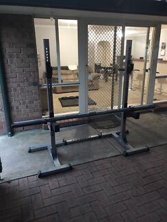 Squat rack with weights, 2 Olympic bars, matts and more.