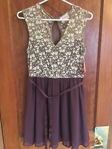 Dusty purple lace and satin dress
