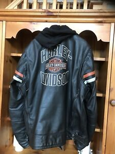Harley Davidson XXL TALL leather jacket with vest hoody liner.