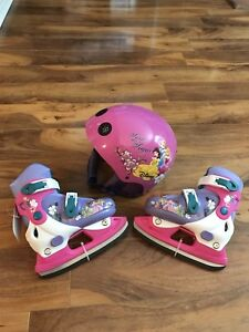 Brand new girls skates adjustable from size 8-11 and helmet