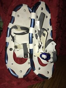 "Aluminum snowshoes 18"" long good for weight up to 132 lbs."