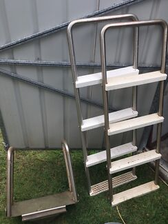 Used stainless steel A frame above ground pool ladder