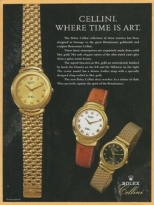 ROLEX Cellini Collection.Where time is art - 1991 Watch Print Ad (Cellini Time)
