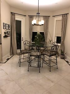 """Counter Height Glass Dining Wrought Iron Round 54"""" Table 6 Chair"""