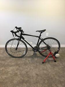 2017 giant contend 3 medium road bike with minoura bike trainer