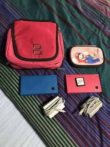 Blue and Pink Nintendo DSI with Pokémon White and Accessories