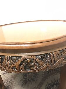 Antiques style oriental carved wooden coffee side table North Willoughby Willoughby Area Preview