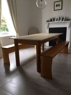 Antique Dining Table And Benches