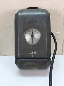 Vintage IBM wall hanging punch clock still works