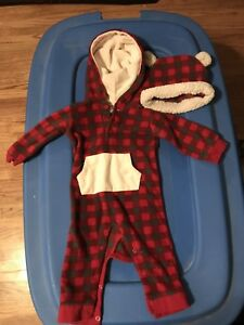 3-6 month Fleece one piece with hat