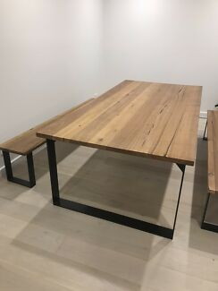 Dining table recycled timber & 2 benches