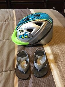 Brand new toddler helmet n sandals