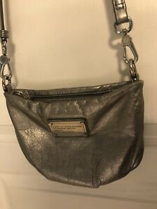 Silver leather Marc jacobs crossbody purse