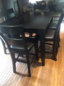 Dark brown High top table, chairs and bench!