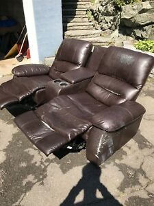 Used two seat leather recliner - $60