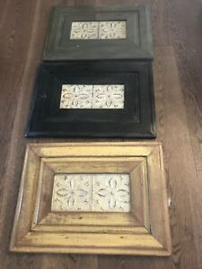 3 antique wood and metal decorative wall art
