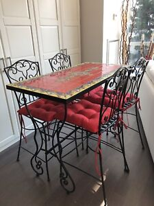 Red Mosaic rectangular dining table and 4 stools