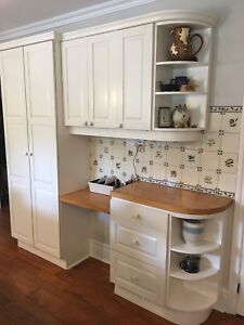 Kitchen cabinets, island, butcher block counter
