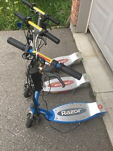 3 electric scooters Razor and Blade