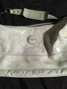 white leather Coach purse & wallet