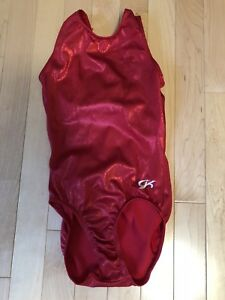 Girls Gymnastics Suit Red Sparkly Size 7