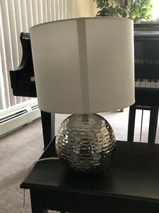 Pristine Condition Hammered Silver Table Lamp from Bouclair