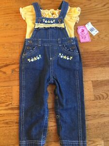 Baby Girl Overalls with Matching Shirt- BNWT
