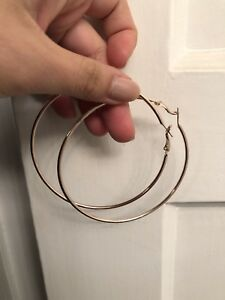 Gold hoop earrings - large 3.1inches 8cm