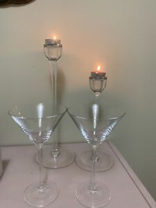 Glass cups and Crandall stands or sticks