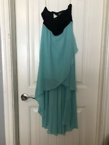 Strapless teal and black dress