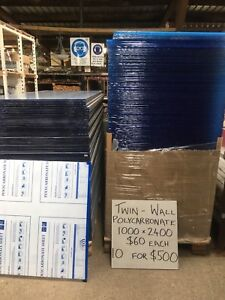 NEW TWIN WALL SHEETS - CLEAR & TINTED - 10mm x 1000mm x 2400mm