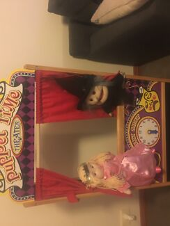 Melissa and Doug wooden puppet theatre with puppets
