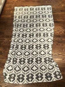 "Pair of West Elm white and grey ikat curtains 48"" x 84"""