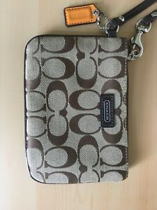 Brown & Beige Coach Wristlet