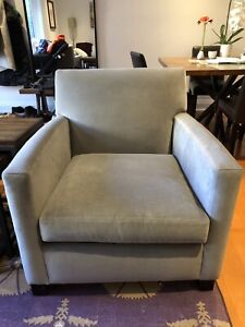 Two grey Crate & Barrel armchairs