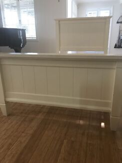 King single solid timber whitewash bed