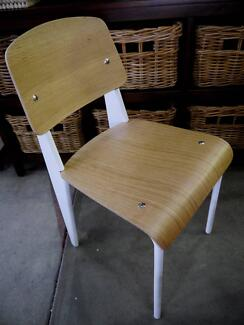 New White Metal Timber Replica Standard Jean Prouve Dining Chairs Richmond Yarra Area Preview